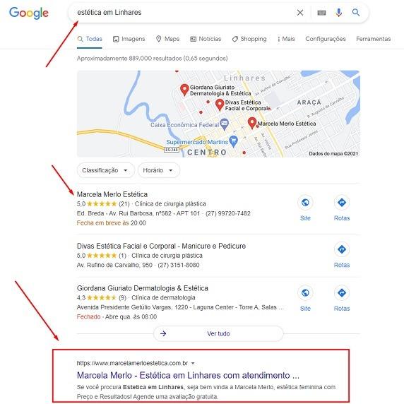site de cliente na primeira posição do Google em Linhares